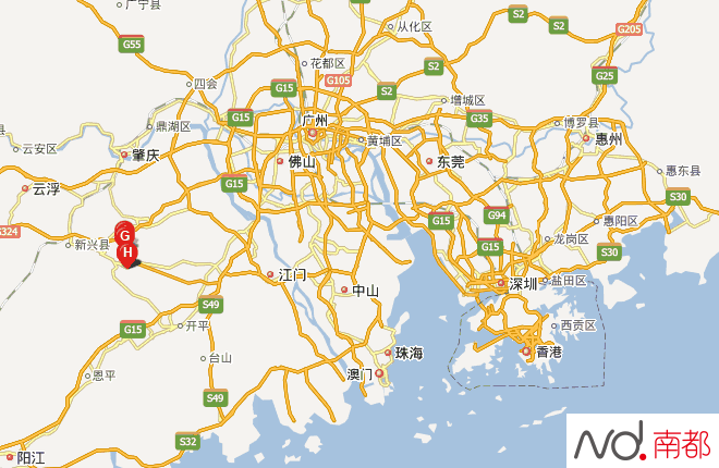 机场拟选址的位置示意图,H所在区域.-珠三角新干线 佛山云浮 机场图片