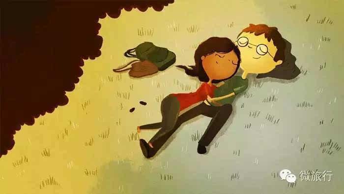 插画手绘下雨落叶