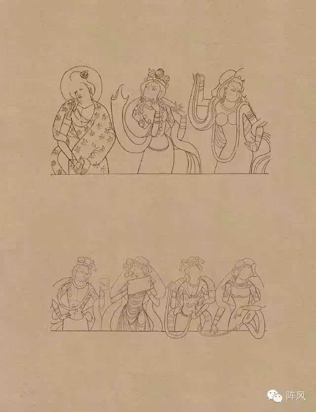 莫高窟 敦煌 壁画 线描人物稿