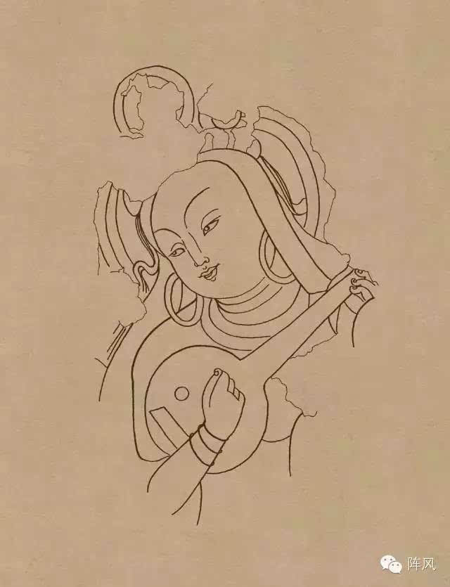 敦煌 壁画 线描人物稿