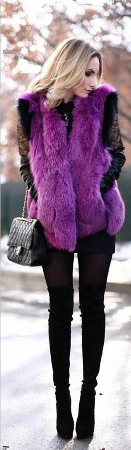 最保暖紫色外套搭配黑色