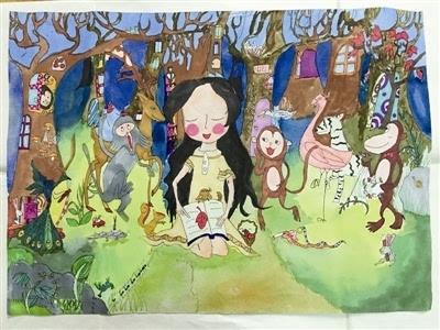 动漫森系鹿角女孩手绘