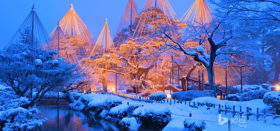冬天雪景 日本兼六园风景壁纸