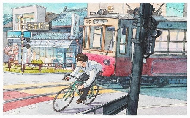 水彩笔画车-宫崎骏 水彩画 单车男孩 风格