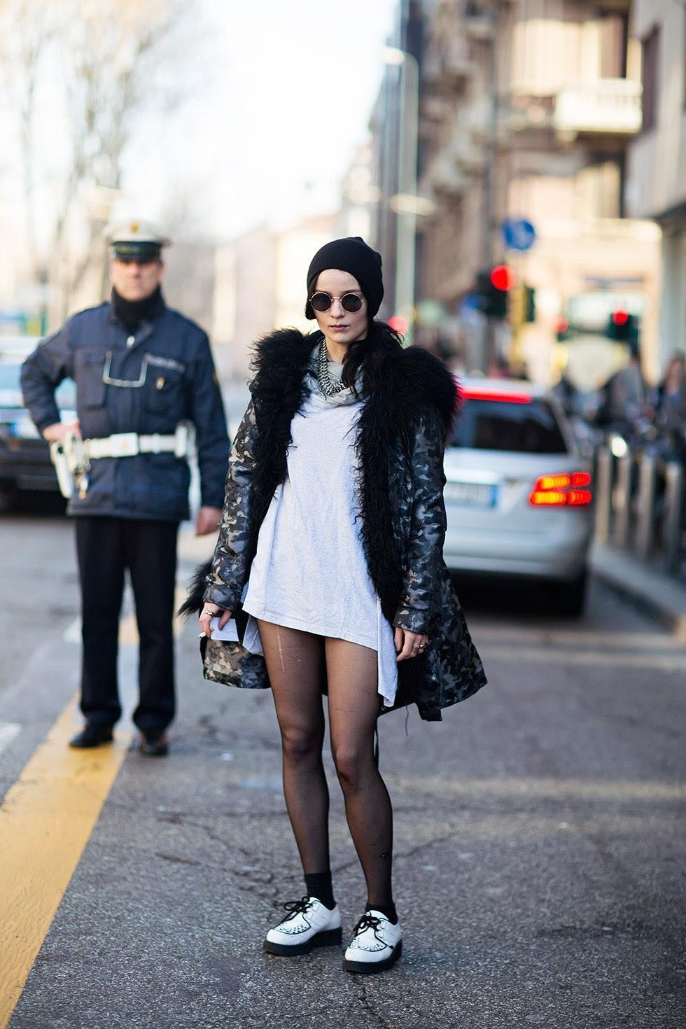 除了明星很爱戴,针织帽也是各种街拍