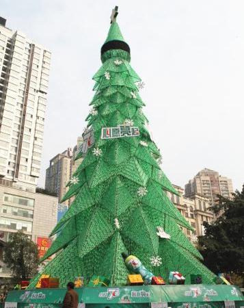 废旧塑料瓶手工制作圣诞树