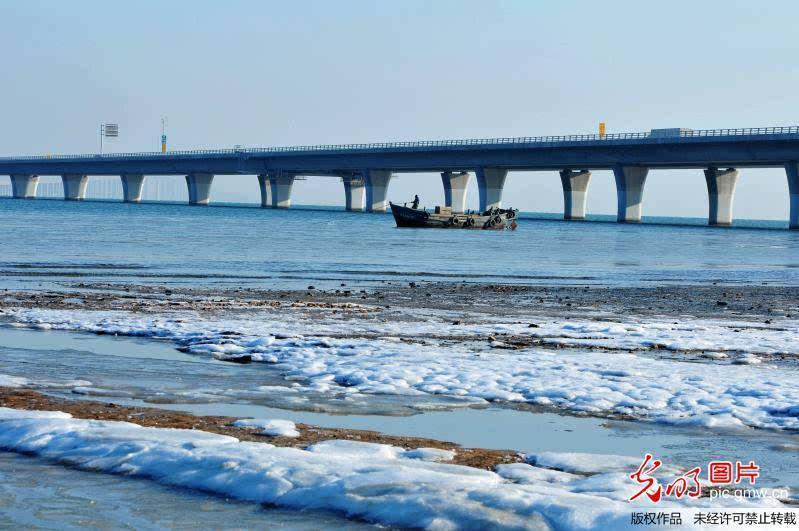 2015年12月17日,山东省青岛市胶州湾,一位渔民在跨海大桥海域冰海中