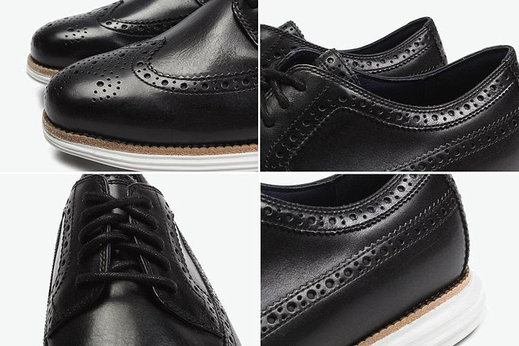 cole haan 男式牛皮雕花时装鞋 黑色