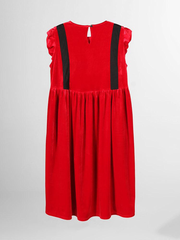 taoc ngc ng 独立设计师品牌 丝绒红色连衣裙