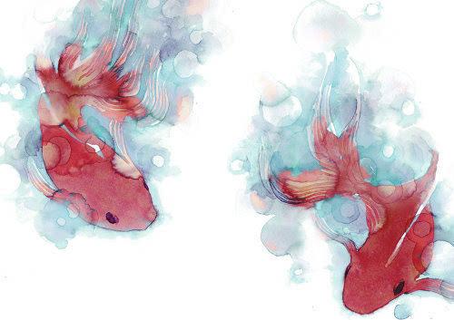 唯美中国风水墨画 鱼儿