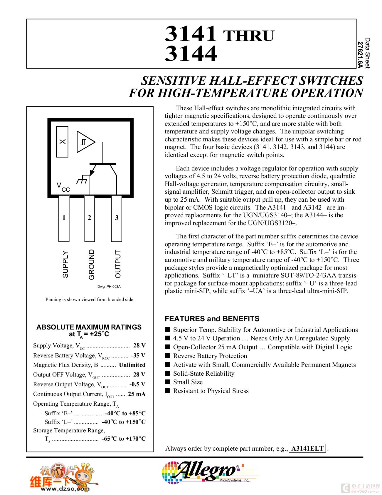 3144霍尔传感器应用笔记