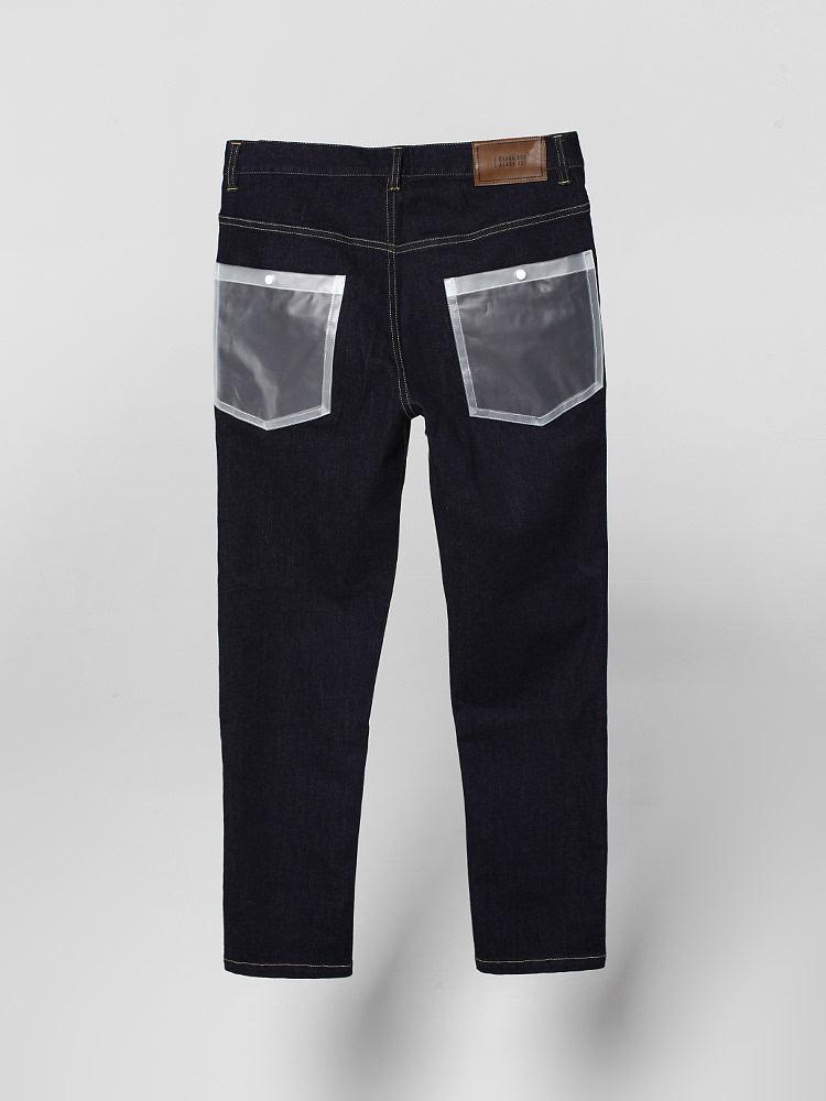 拼接布透明口袋牛仔裤