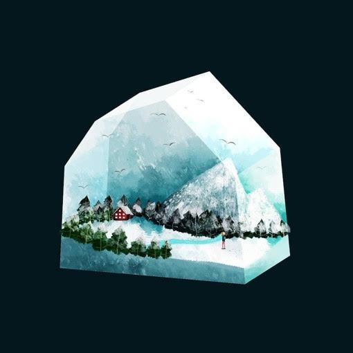 类似3D立体水晶般的小清新风光场景插画作品高清图片
