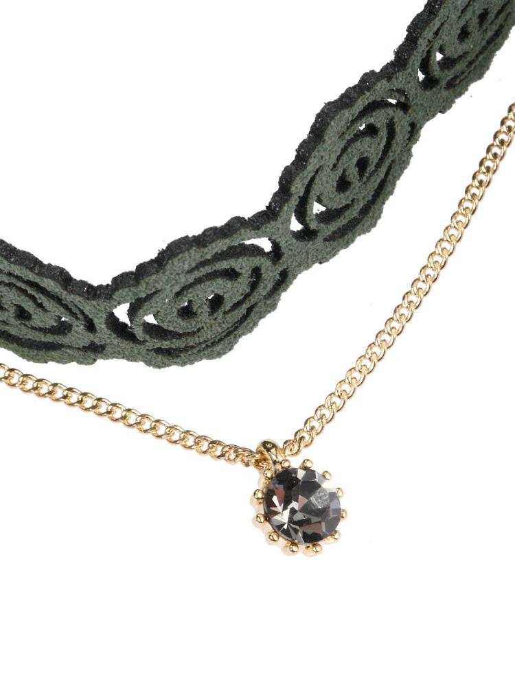 哥特风磨砂皮革复古镂空玫瑰花造型颈链