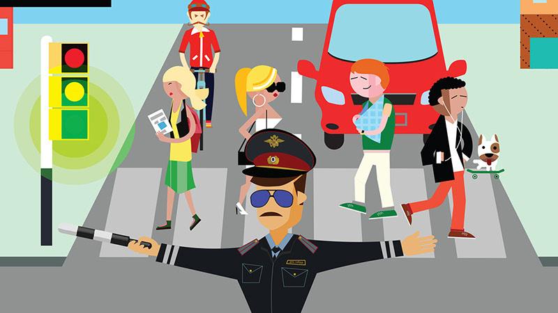 交通警察叔叔简笔画-2016绿色平安出行怎么做 看喵星人压轴示范