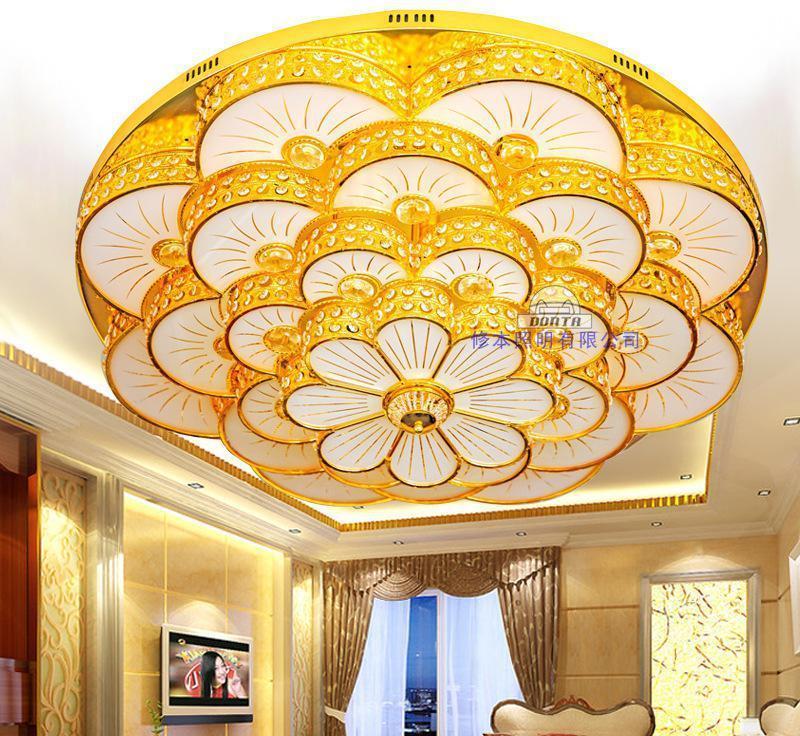 花形卧室客厅吸顶水晶灯 led遥控水晶灯