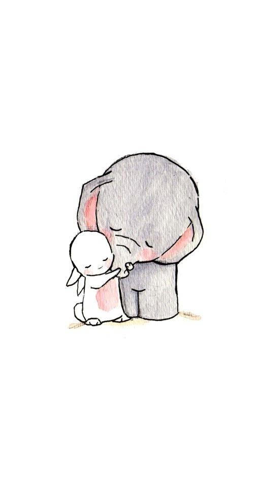 小女孩与小兔子_萌哒哒的