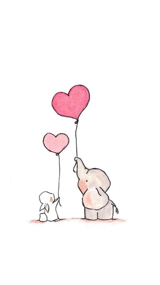 小动物手绘插画图片,主角是一只小象和一只小白兔