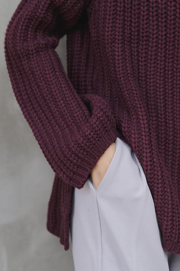 秋冬粗毛线编织套头毛衣