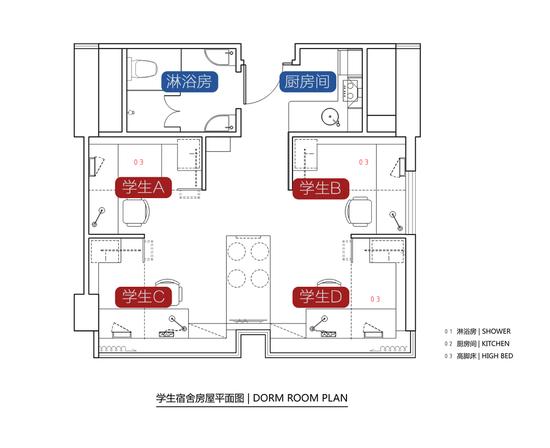 (学生宿舍房屋平面图)图片