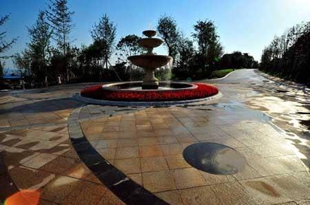东大门主入口:欧式的入口跌水景观,小品雕塑,保安岗亭,跌水花钵等元素