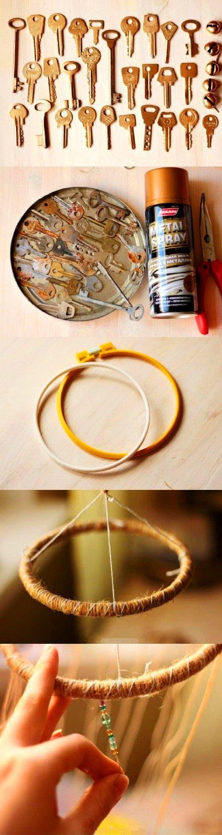 旧钥匙加串珠制作精美风铃手工制作教程