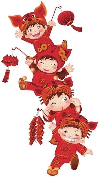 春节烟花卡通简笔画