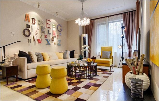 这套案例是现代简约混搭北欧风,格调童趣,几件黄色家具,灯具,有趣字母图片