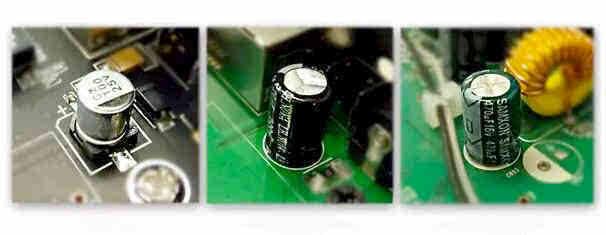 固态电容、国产电解电容、台产电解电容 黑色板(左一)的射频器件采用了国际一线厂商muruta的器件,普通电路元器件采用国巨,叠层电感采用的是只做电感的顺洛,所有物料号全部控制,并非哪个便宜用哪个。众所周知,好的固态电容每个约3元左右,台产(右一)电解电容的售价在0.