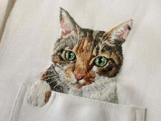 08,日本刺绣艺术家久保田弘子的刺绣猫衬衫,最开始是因为要给儿子定制
