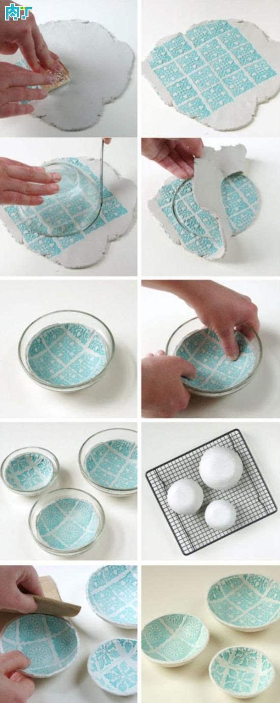精美彩印陶土碟子diy手工制作方法图解教程