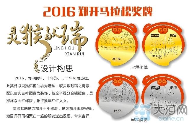 2016年是农历猴年,奖牌外观引用桃子和猴子,寓意瑞猴献桃,表达了中原图片