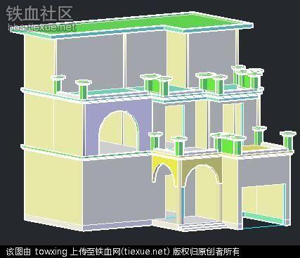 平行俯视建筑手绘