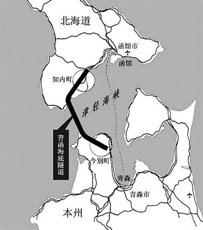 连接日本本州岛和北海道的青函隧道,海底部分长23.