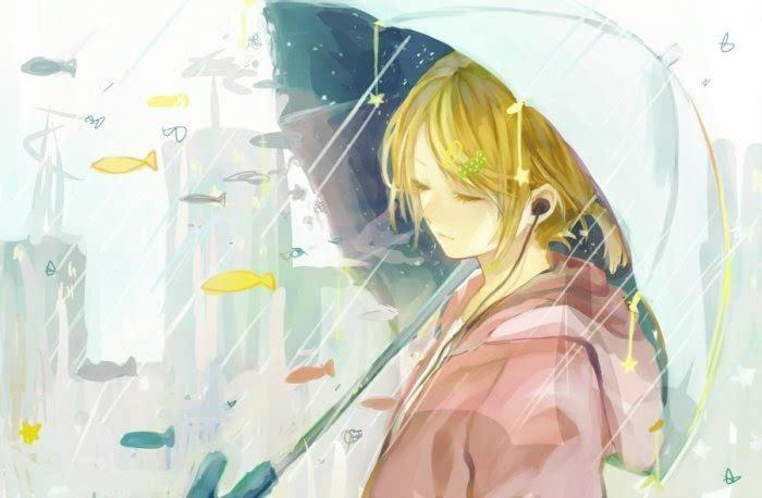 其它 正文  插画手绘 二次元美女 动漫水彩 水粉画 韩国插画 壁纸 雨