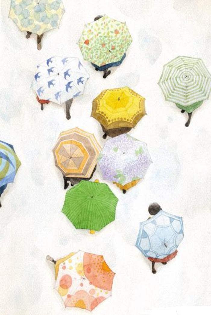 """手绘:"""" 雨伞和你 """""""