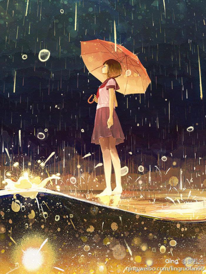 插画手绘 二次元美女 动漫水彩 水粉画 韩国插画 壁纸