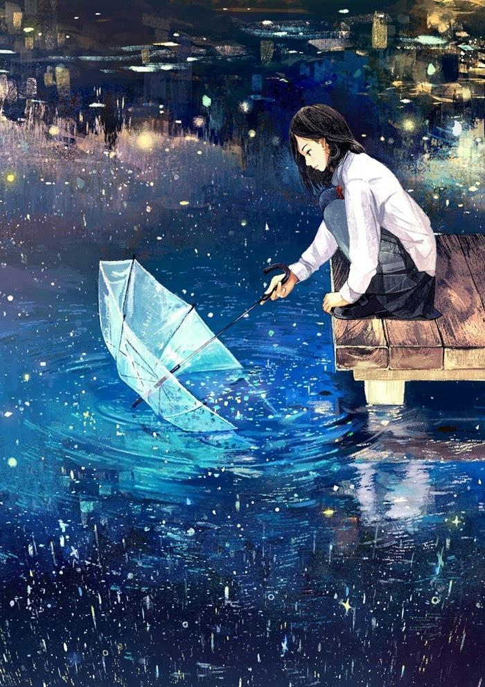 cの[夭夭光年不知醉] 蓝色系 背景 插画 少女 雨伞 倒影 夜景 夜明け