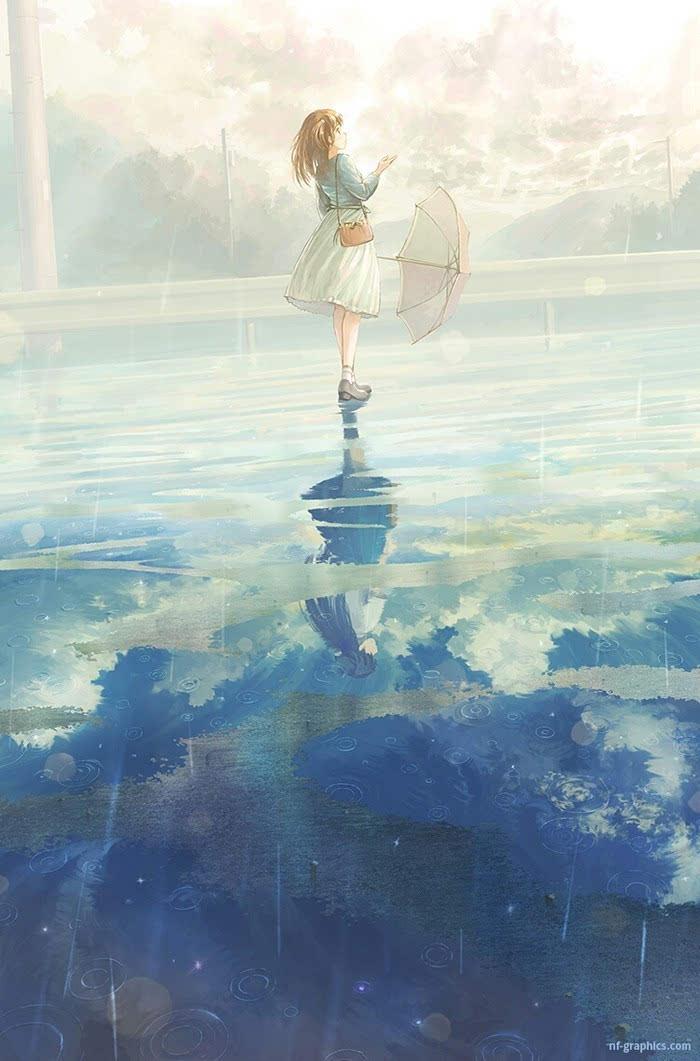 潇洒小姐【立于风中的elsa】雨天下雨伞 红色 黑猫 少女与猫.