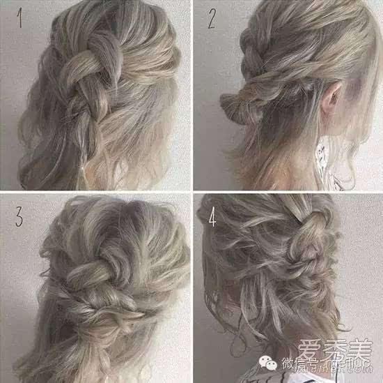 编法图解:三股辫绑起来,接着从两侧的头发再拉出两股分别编成麻花辫