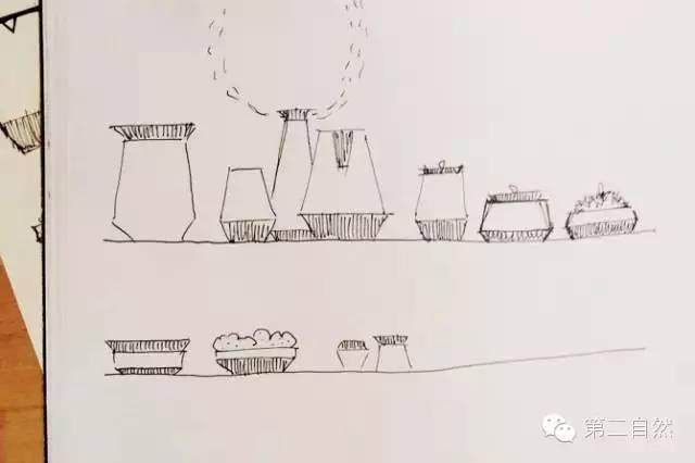 设计师亲自手绘产品设计图,不仅保留了石材原始的形态,也体现了质朴的