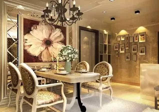 美式风格餐厅背景墙效果图中无论是用乡村的风景壁画装饰还是用装饰画图片