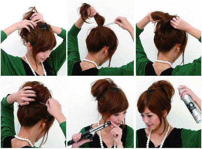 step5:脸颊两侧抓住小发束.如果有条件的话,用卷发棒卷出弧度更漂亮.图片