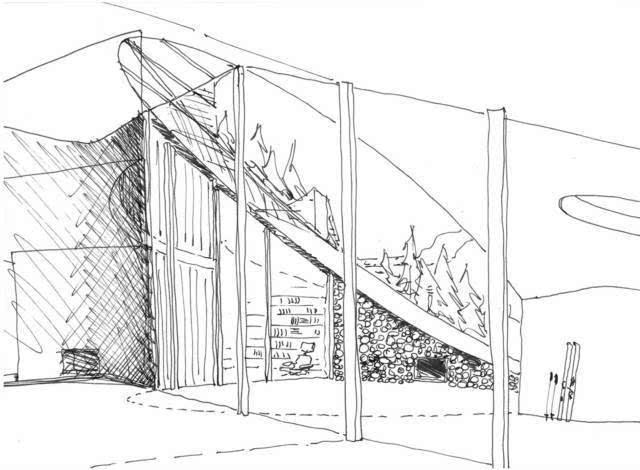 手绘别墅风景黑白图片