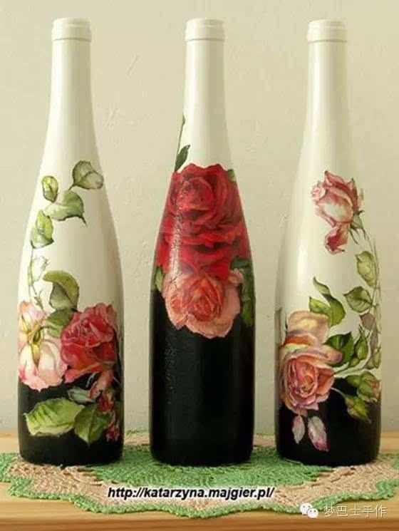 画玻璃瓶的颜料可以选择丙烯,玻璃颜料!图片