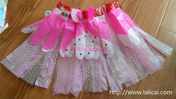 巧手父母 塑料袋制作的公主裙