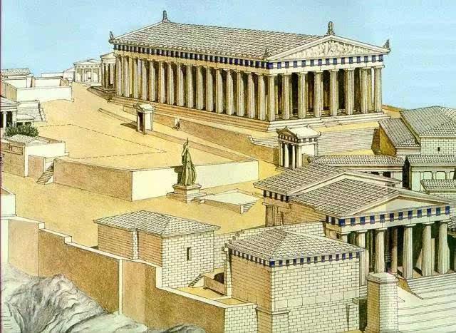 雅典卫城建筑群复原示意图,入口山门建筑的北侧那个背朝读者的建筑