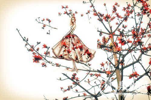 华侨大学女生创意手绘:长裙与大自然唯美撞衫