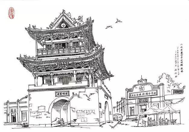 手绘建筑立体 长城