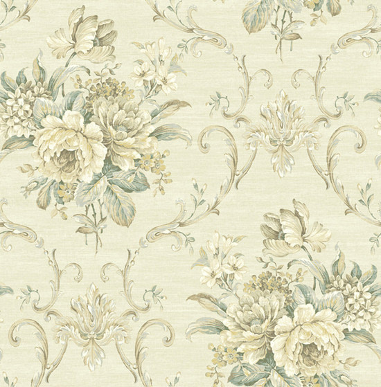 """""""赫德森""""以卷草花,竖条纹等经典图案作为配纸花型,卷草纹据说是由忍冬"""